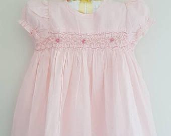 Beautiful spot voile pale pink hand smocked baby dress - size 3-6 months & size 1