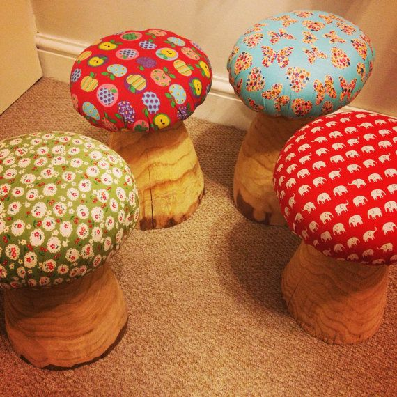 Toad Stools are carved from locally coppiced wood. Available as garden friendly weatherproof vinyl stools or in our indoor fabric styles