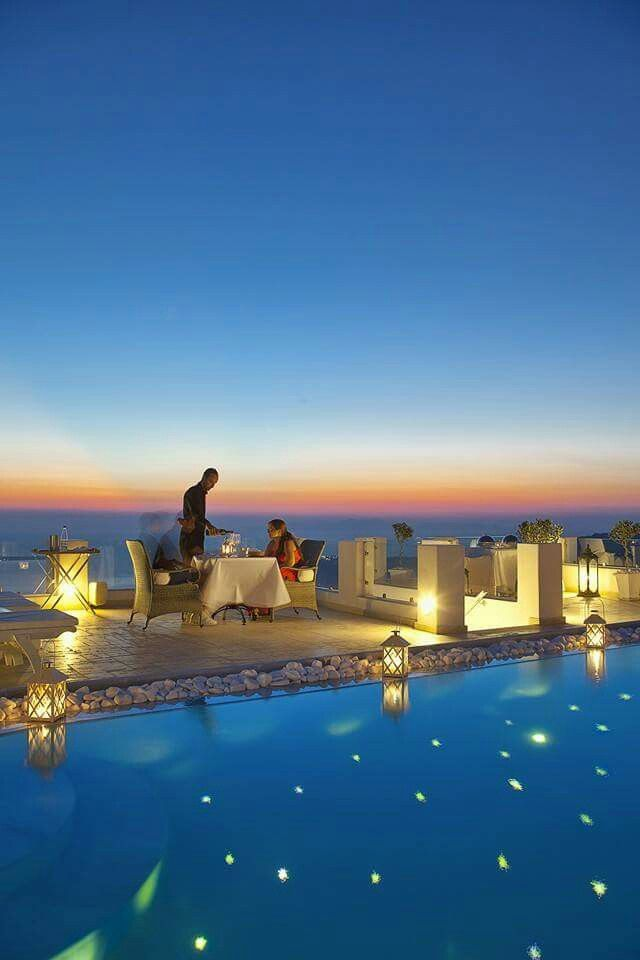 Enjoy a sumptuous candlelight dinner on the terrace of your suite or villa...gaze at the imposing shaping of the Santorini caldera cliffs, wondering how the volcanic eruptions led to such a beauty and taste unforgettable tastes... (See more at http://www.gastronomysantorini.com at http://www.candlelightdinnersantorini.com)