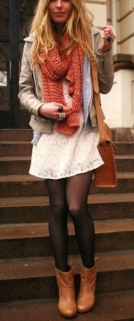#winter #fashion / orange knit scarf + jacket