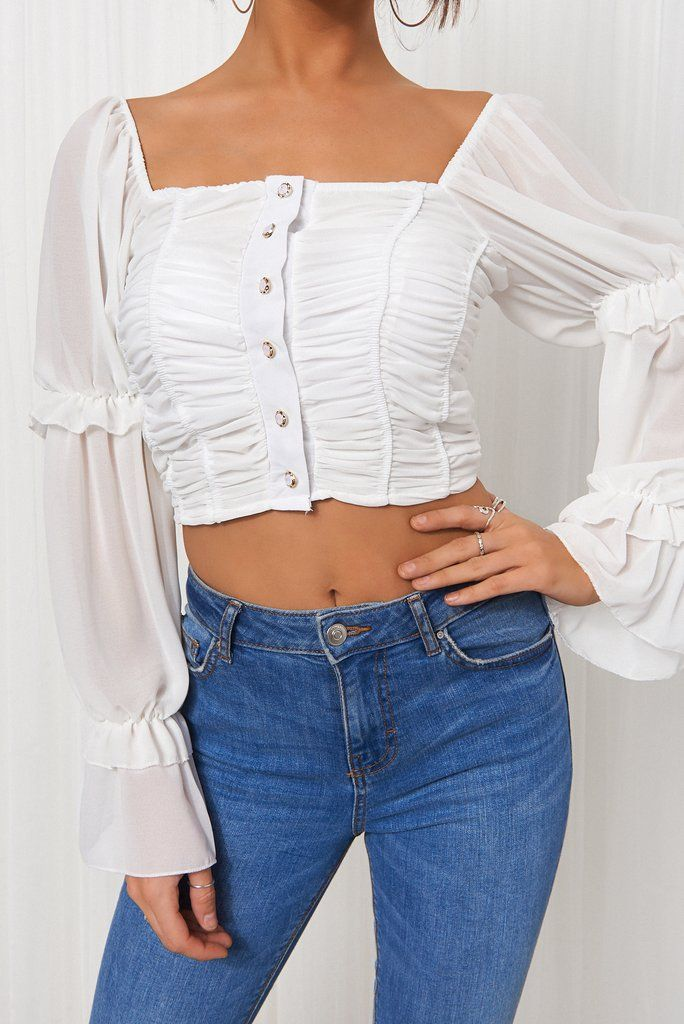 White Pearl Button Crop Top In 2020 Tops Crop Tops Fashion
