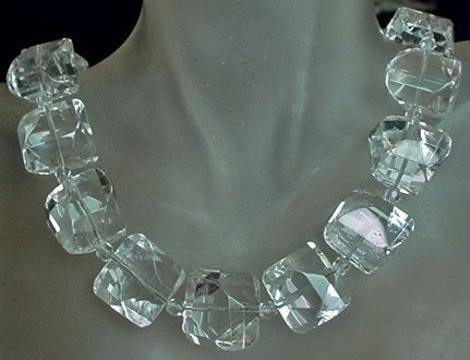 Unique Faceted Crystal Necklace  Clear Unique Facted by camexinc