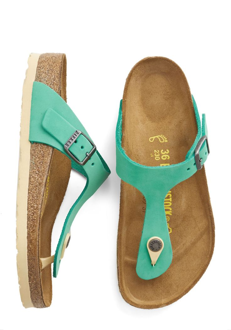 Turquoise by the Sea Sandal. This turquoise-leather, T-strap sandal by Birkenstock mimics the blue Caribbean water as you walk along in the hot sun. #green #modcloth