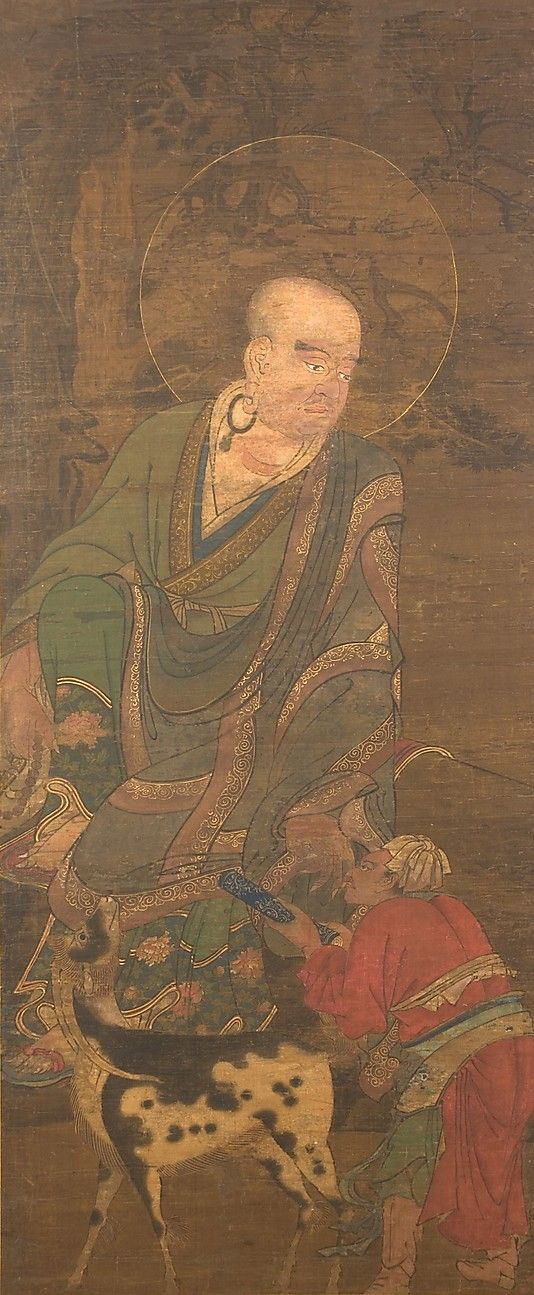 Luohan  Unidentified Artist   Period: probably Song dynasty (960–1279) Culture: Japan Medium: Ink and color on silk Dimensions: 36 x 14 7/8 in. (91.4 x 37.8 cm) Classification: Painting