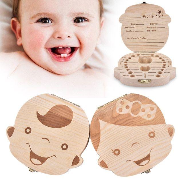 Wooden Kids Baby Milk First Teeth Box Organizer Save Tooth Storage Keepsake Gift