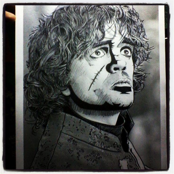 Tyrion Lannister - Peter Dinklage.  #ilustración #dibujo #draw #art #arte #sketch #retratos #gameofthrones #juego de tronos #emiliaclarke #daenerystargaryen #peterdinklage #tyrionlannister