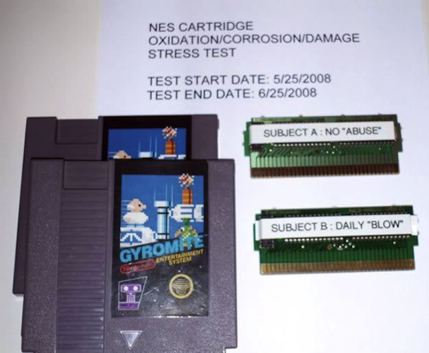 Someone even did an experiment to see the effects of blowing on the cartridges. | Blowing Into Your Nintendo Cartridges Didn't Actually Help