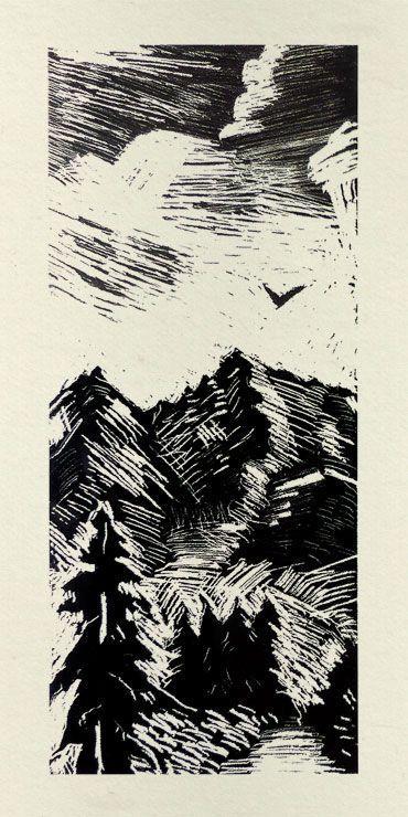 Gravure d'un paysage de montagne dessin gratuit sur ©www.image-gratuite.com