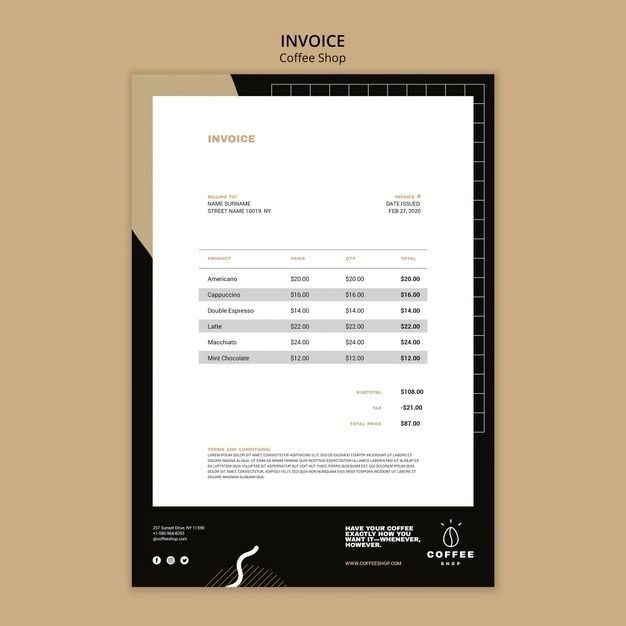 Download Invoice Template Concept For Coffee Shop For Free Invoice Template Templates Coffee Shop