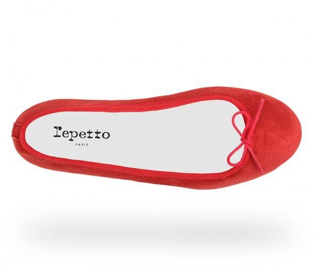 Ballerine Cendrillon - Chèvre velours Rouge flamme - Repetto