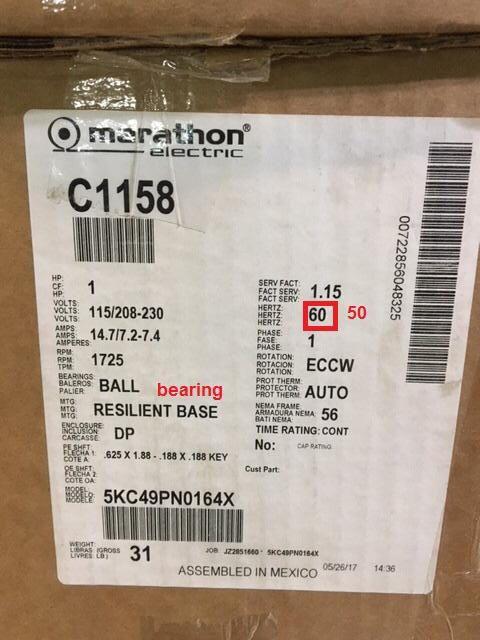 Marathon Electric C1158 / 5XC49PN0164X motor