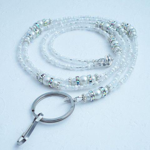This lanyard is one of my most popular.  Just sold another one.  It adds a touch of elegance to hour work day. Beaded Lanyard - White Pearls, Crystal Rondeles, Silver