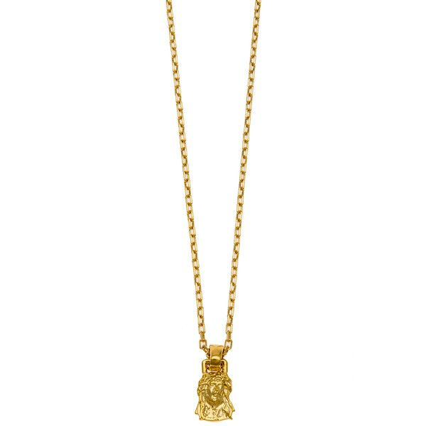 Mister The Micro Jesus Piece Necklace in Gold ($38) ❤ liked on Polyvore featuring men's fashion, men's jewelry, men's necklaces, chain, gold, mens pendant necklace, mens gold chain necklace, mens gold pendant necklace, mens chain necklace and mens gold necklace
