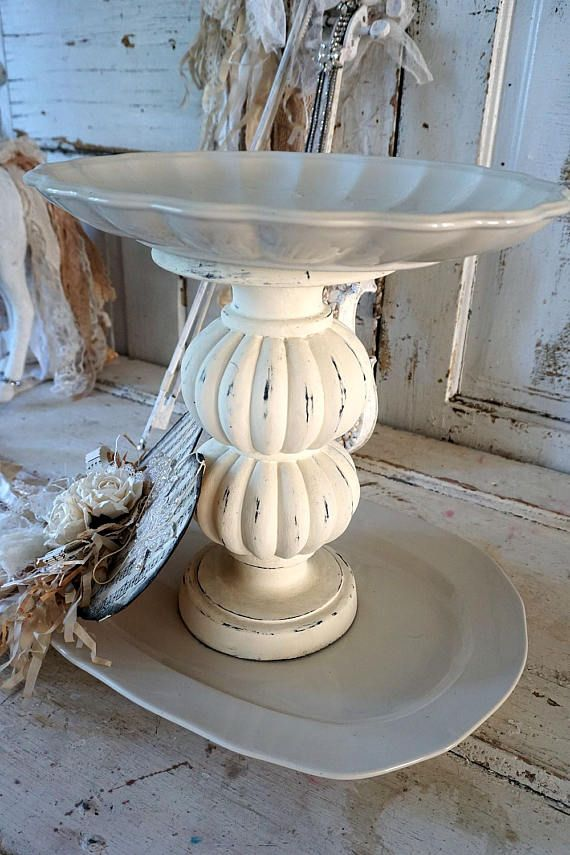 White two tiered tray handmade French Nordic stoneware style