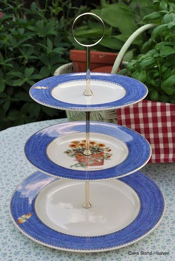 I would love to have this to go with my wedding china!! Wedgood Sarah's Garden Blue 3 Tier Cake Stand