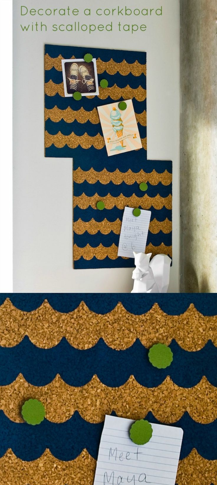 Use scalloped painter's tape to decorate a corkboard with a modern pattern! Choose your favorite paint colors and let your imagination run wild.