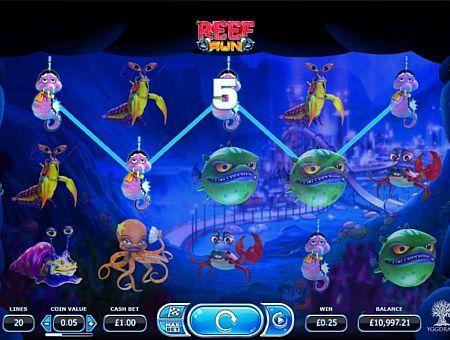 Ігровий автомат Reef Run з виведенням грошей  Компанія Yggdrasil присвятила ігровий апарат Reef Run морській тематиці. У ньому ви зможете отримувати реальні виграші, складаючи комбінації на 5 барабанах і 20 лініях. А висновок додаткових грошей з автомата забезпечать бонусні обертання з дуже прибутковою функцією.