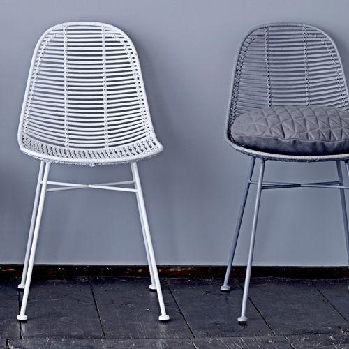 Chaise en rotin naturel pied en métal Bloomingville - Gris