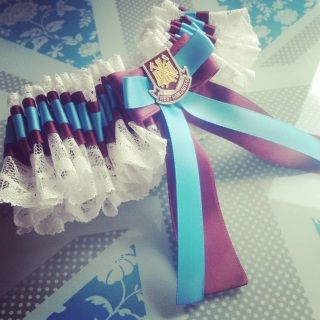 West Ham Inspired Bridal Wedding Garter White or Ivory lace garter, with a Blue and Maroon satin band and bow. Featuring a West Ham themed badge