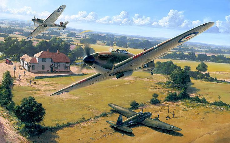 12th July - Flt Lt Tom Dalton-Morgan and P/O Hamilton. C. Upton of 43Sqn intercepted and shot up Heinkel He111 G1+FA of KG55. The crew managed to jettison the bomb load as the aircraft rapidly lost height with one engine out of action, a second attack sealed the bomber, the other engine stopped and the bomber made a shallow dive, the Heinkel with its undercarriage shot up, successfully made a belly-landing in along side the pub 'The Horse and Jockey' at Hipley, Hambledon, Waterlooville