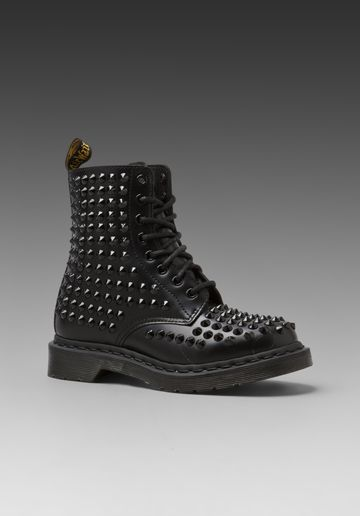 DR. MARTENS Spike All Stud 8 Eye Boot in Black at Revolve Clothing