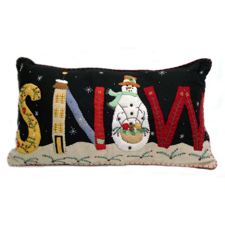 "Large ""SNOW"" Holiday Pillow - Wool Felt Applique"