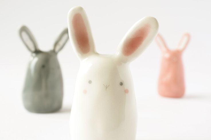 Cute Ceramic Sculpture, Handmade Clay Bunny figurine, Rabbit Miniature, Kawaii ceramic, Pottery animal totem. Italian clay, colored glaze. by TramaiCeramics on Etsy https://www.etsy.com/uk/listing/469215457/cute-ceramic-sculpture-handmade-clay