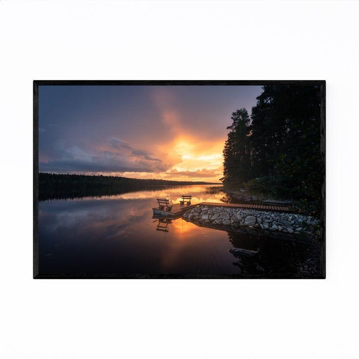 Noir Gallery Kangasniemi Finland Landscape Framed Art Print (24 x 36 – White)