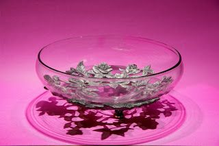 Seagull Pewter Low Serving Bowl -- Roses pattern, dated 1996.