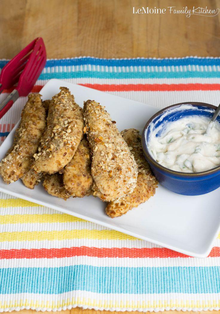 Pretzel Crusted Chicken Fingers with a Garlic & Chive Aioli   Recipe ...