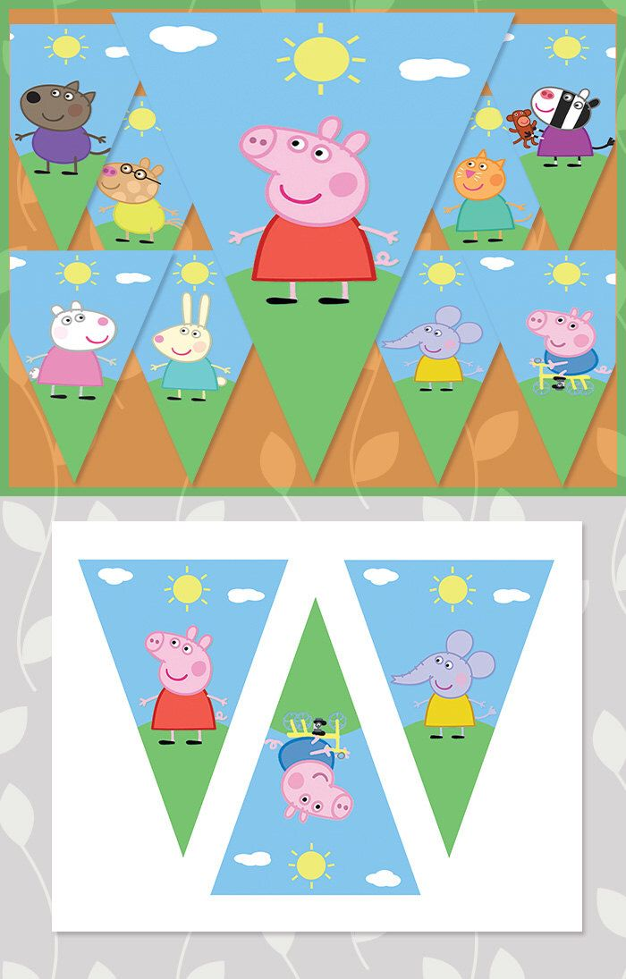 Peppa Pig Birthday Banner Characters // Peppa Pig Banner // Peppa Pig Party // Peppa Pig Party Supplies // Peppa Pig Birthday Sign by ApothecaryTables on Etsy https://www.etsy.com/listing/214420433/peppa-pig-birthday-banner-characters