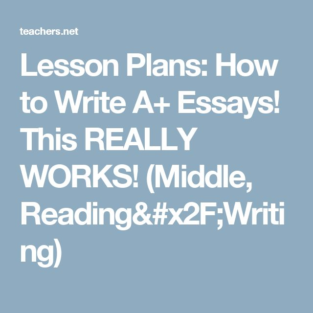 Lesson Plans: How to Write A+ Essays!  This REALLY WORKS! (Middle, Reading/Writing)