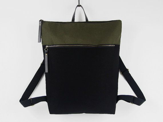 Unisex,Black and forest green canvas Backpack, laptop backpack with zipper closure and front zipper pocket, Design by BagyBags