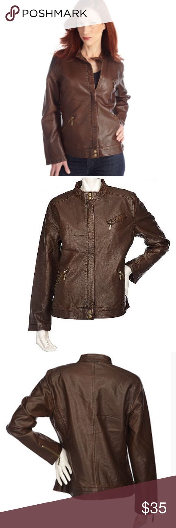 Susan Graver Faux Leather Motorcycle Jacket Never worn ! Super stylish and edgy. Looks great on people of all ages ! Raising the price tomorrow, so get it today for a great discount ! Susan Graver Jackets & Coats