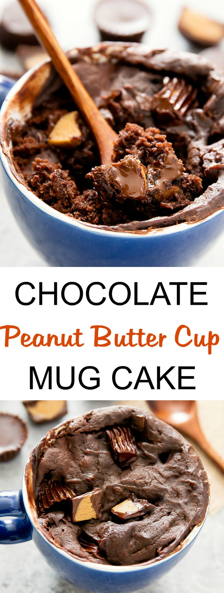 Chocolate Peanut Butter Cup Mug Cake. Creamy, melty single serving mug cake. Cooks in one minute in the microwave!