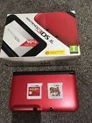 Nintendo 3DS XL Red & Black with 2 games - Angry Birds & Mario 3DLand