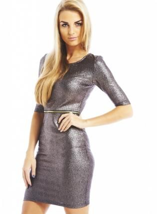 silver metallic dress #partydress #nyedress #bodycon