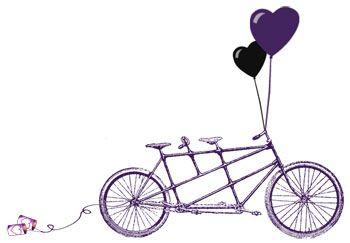 Purple Tandem Bike Wedding Invitation Template