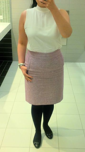 ivory top from LOFT, pencil skirt