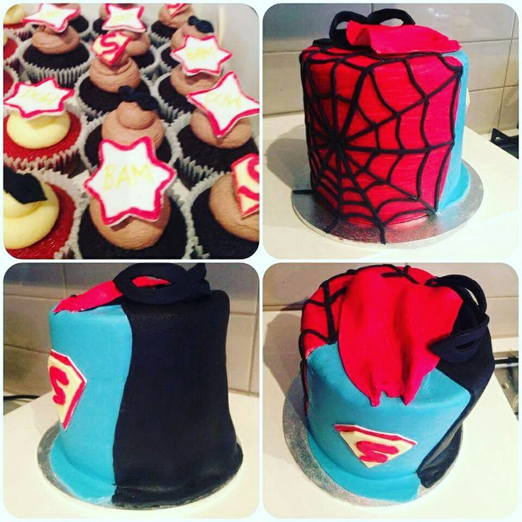 Superhero cake #spiderman #superman #batman #comic #cupcake #cake #pow #superhero