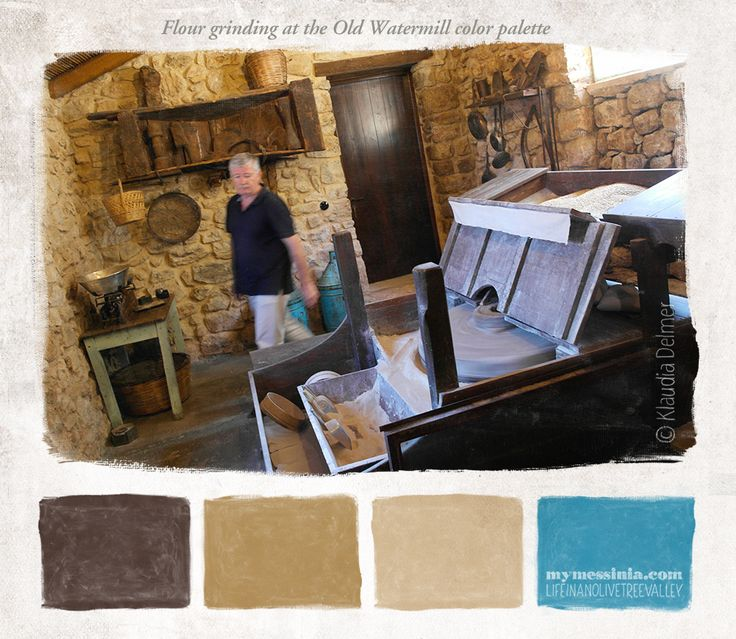 Grinding flour at the Old Watermill color palette   My Messinia