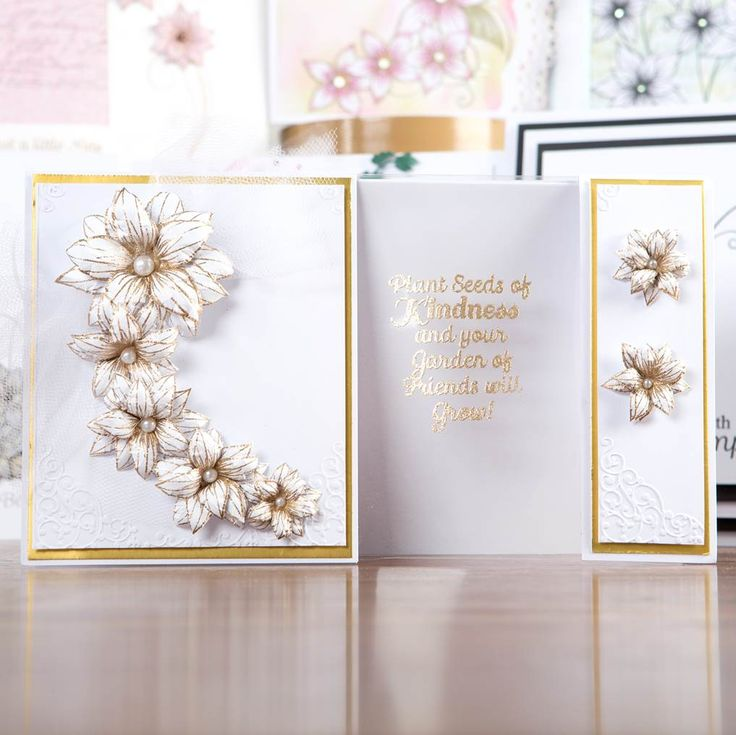 Gold and silver floral #carddesign from the Relatively Little Words Collection. Shop now at C+C: http://www.createandcraft.tv/pp/honey-doo-crafts-relatively-little-words-345697?p=1 #cardmaking #papercraft