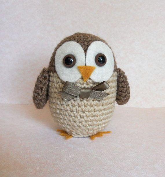Crochet Amigurumi Owl Brown Plush Bird