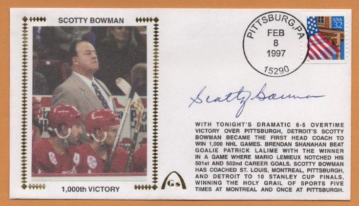 Scotty Bowman BLEM 1000 NHL Wins Signed Gateway Stamp Envelope - Detroit  #DetroitRedWings