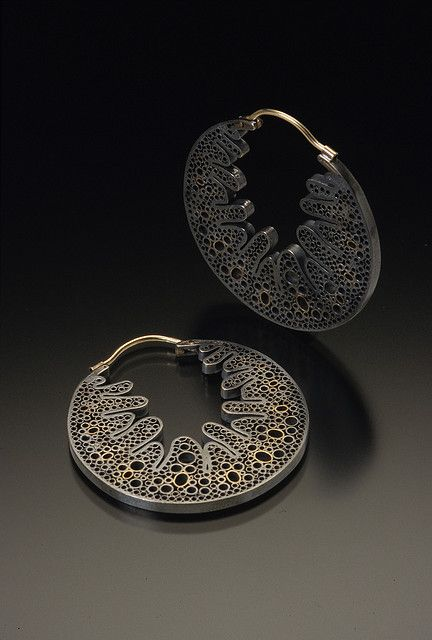 Vina Rust - Marram Earrings: Stained Cell Series, 2006    Sterling Silver, 14K gold, liver of sulfur patina