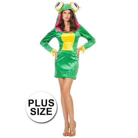 Grote maten kikker jurkje dieren kostuum voor dames. Sexy kikker jurkje met lange mouwen en capuchon met grote kikkerogen. Materiaal: 100% polyester.