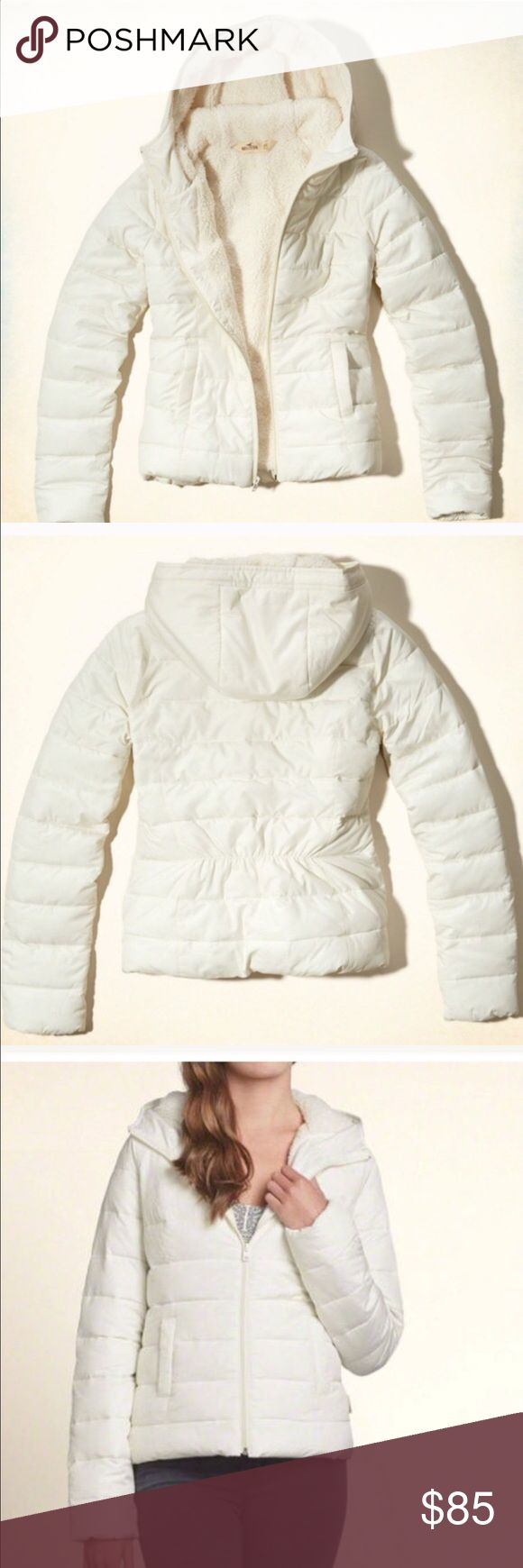HOLLISTER SHERPA LINED - PUFFER NWOT - THIS JACKET IS NEW, NEVER USED. Jacket is white. Sherpa lined inside and in hoodie. Super warm and soft. Water resistant❌No stains, rips, holes or stains❌ 🚫No trades, No lowballs, No merc🚫 ONLY SERIOUS BUYERS.                                                  💗Condition: Never used, No flaws 💗Smoke free home 💗No trades 💗No returns 💗No modeling  💗Shipping next day 💗OPEN TO reasonable OFFERS  💗BUNDLE and save more Hollister Jackets & Coats…