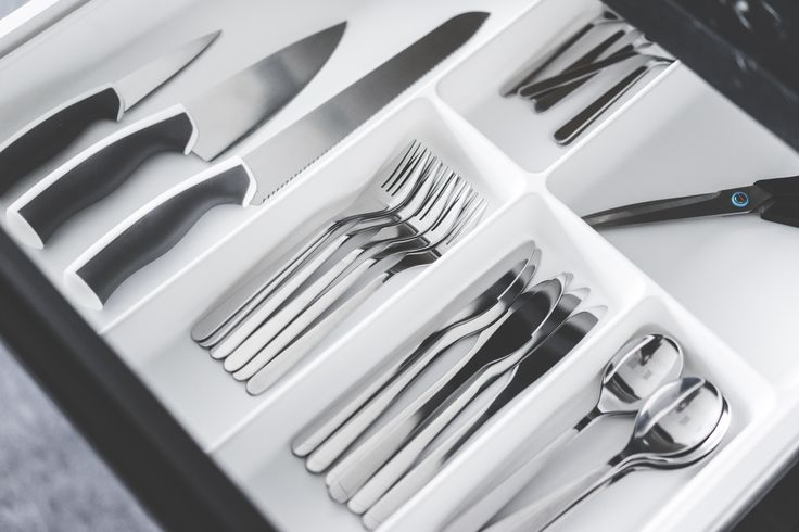 White Simple Cutlery Drawer Insert in Kitchen Sideboard Free Stock Photo Download   picjumbo