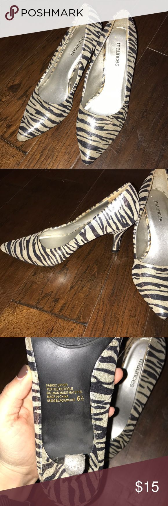 Zebra Heels! 🦓🦓 Size 61/2 zebra print heels from Maurice's. Short heel and easy to walk in!! Good condition! Maurices Shoes Heels