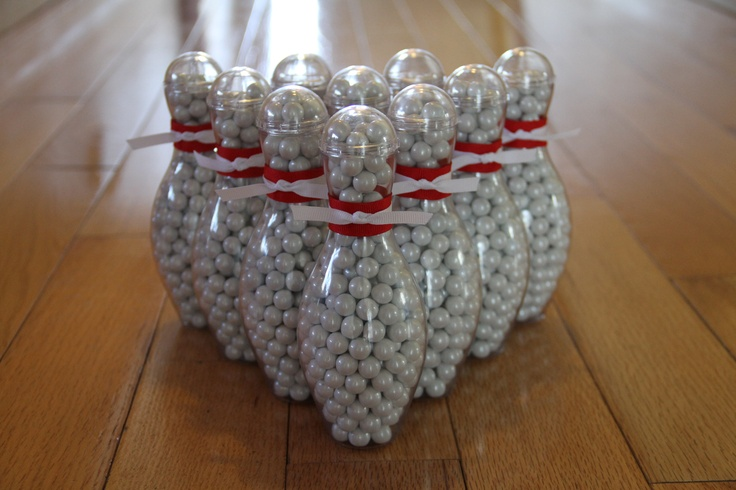 Bowling Party Favors! http://www.noveltybowlingstuff.com/p-65-mini-bowling-pin-candy-container.aspx